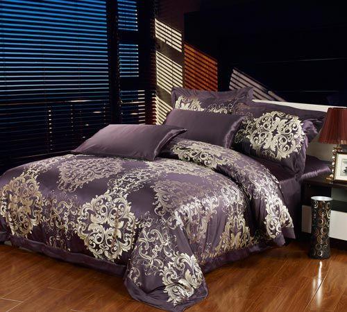 parure de lit en soie mariage violet parure de lit. Black Bedroom Furniture Sets. Home Design Ideas