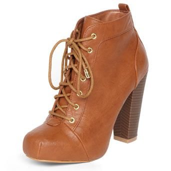 Tan lace up ankle boots