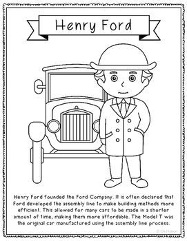 henry ford coloring page or poster great addition for history interactive notebooks or research unit