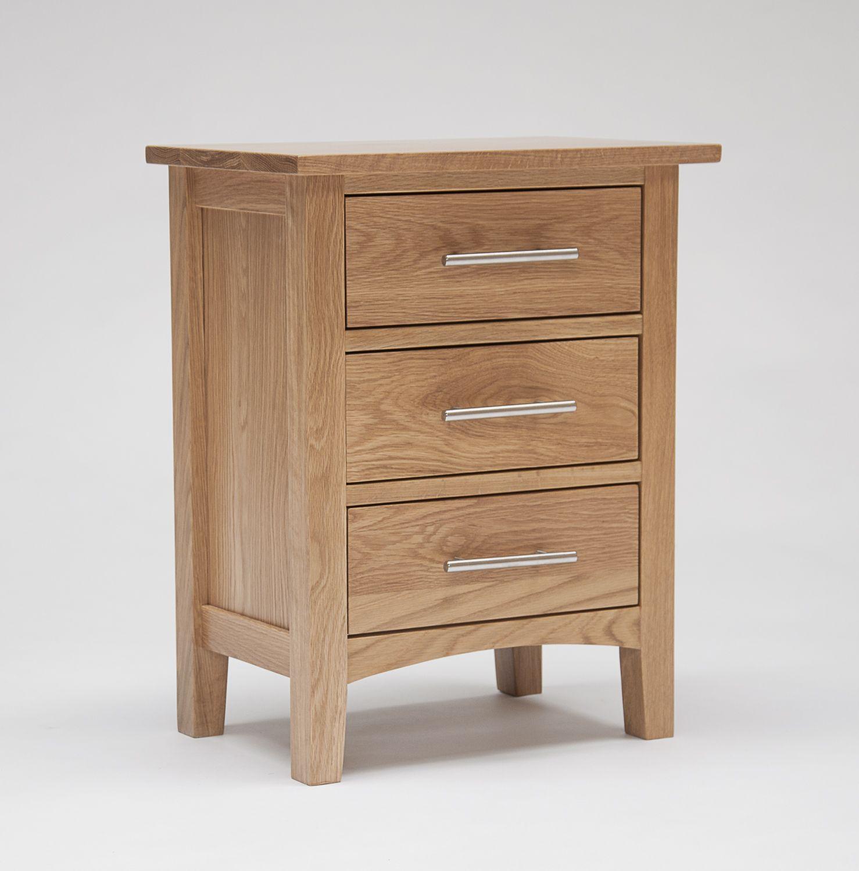 Hereford Oak 3 Drawer Bedside Cabinet - Hereford Oak 3 Drawer Bedside Cabinet Best Bedside Cabinet