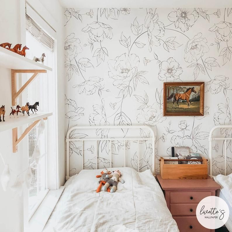 Oversized Floral Girl S Room Wallpaper Available As Peel And Stick Or Traditional Wallpaper Girls Room Wallpaper Wallpaper Bedroom Feature Wall Feature Wall Bedroom