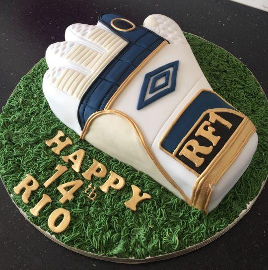 Football glove cake