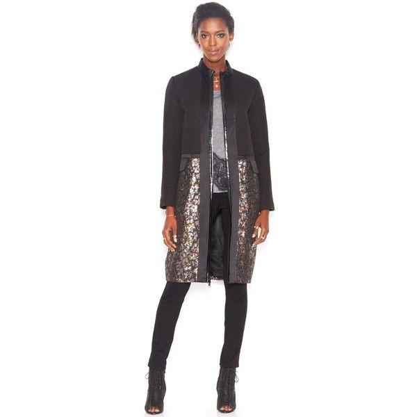 """RACHEL Rachel Roy Stand-Collar Metallic-Print Coat"" found on Polyvore"