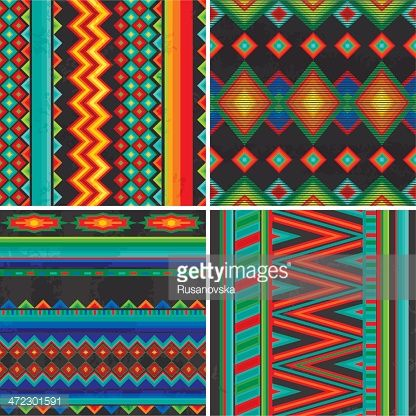 Set Of Four Traditional Mexican Patterns Vector Eps 8 Mexican