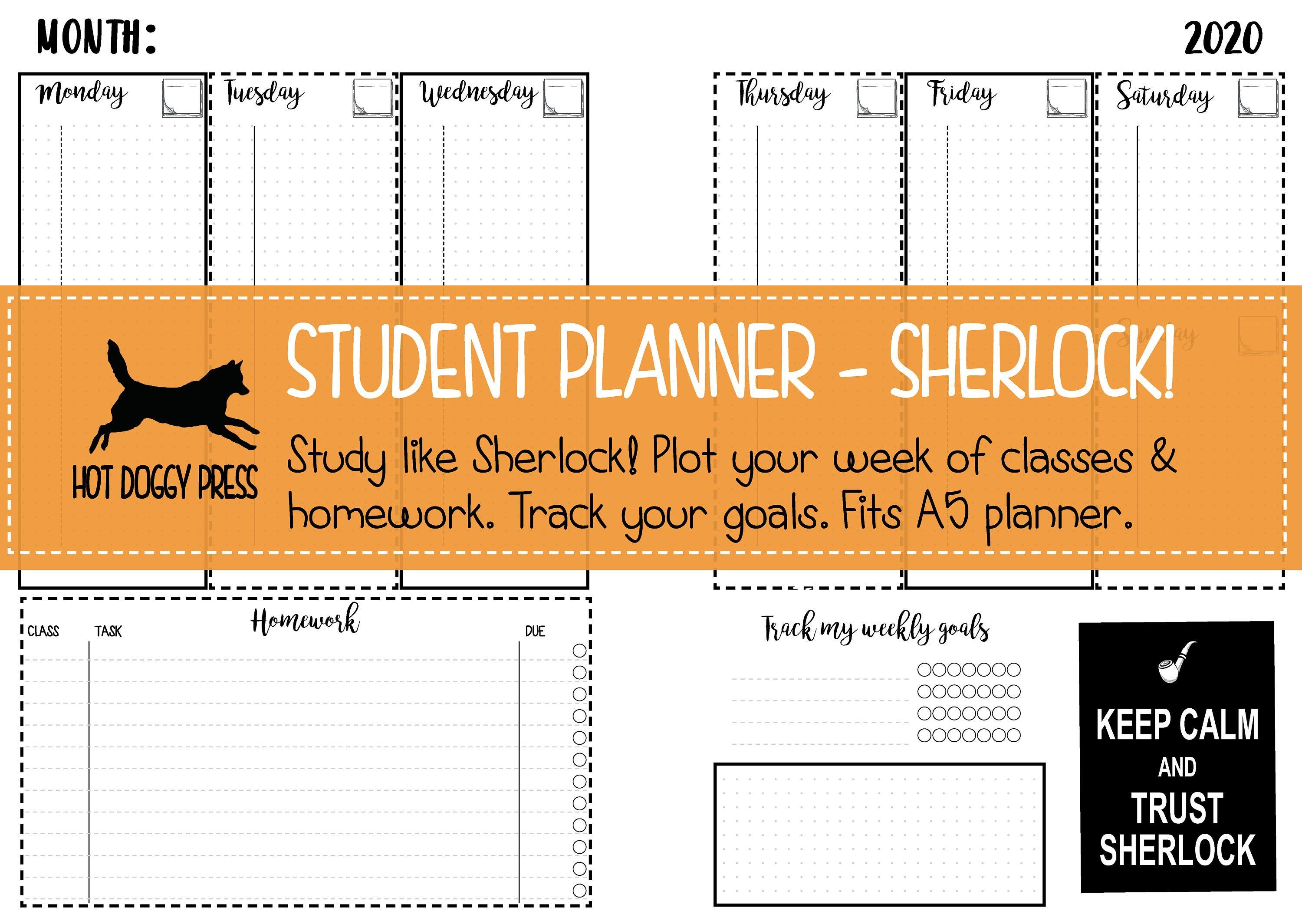 Student Planner 2020 Keep Your Studies Organised Study Like Sherlock Printable A5 Student Diary Student Planner Student Diary Study Organization