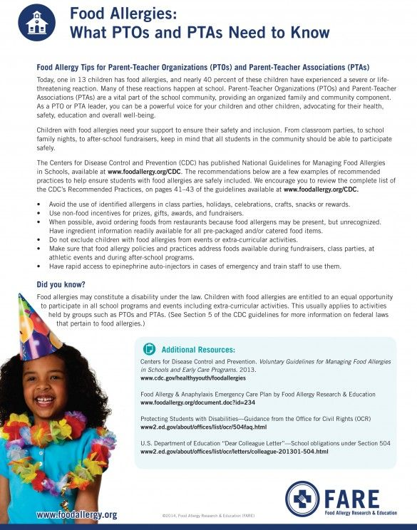 Food Allergy Tips For Parent Teacher Organizations Ptos And