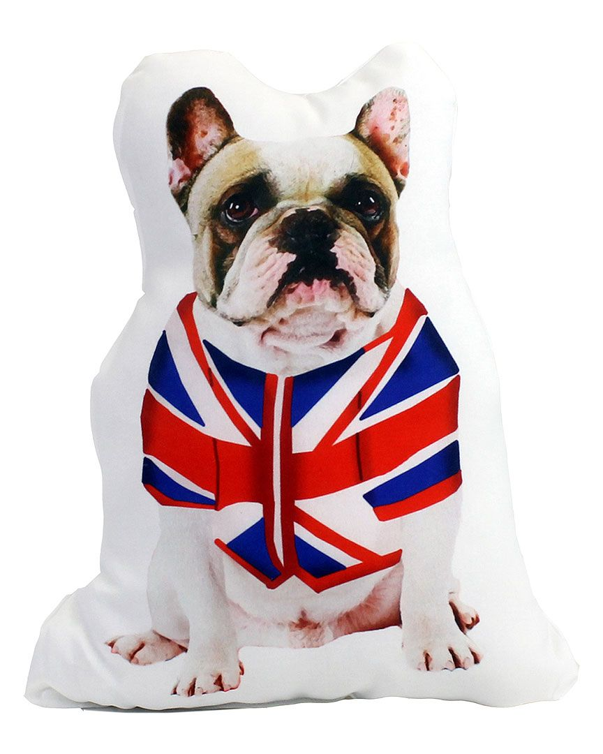 Rue La La Union Jack Dog French Bulldog Decorative Pillow
