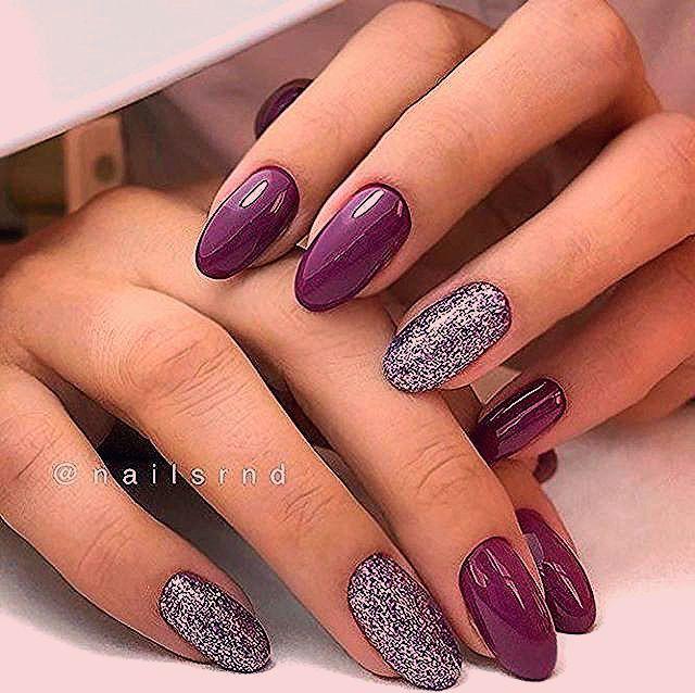 Purple and glitter nail art design