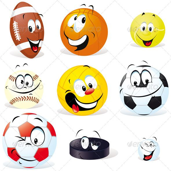 Cartoon Sports Balls Sports Balls Cartoon Sports