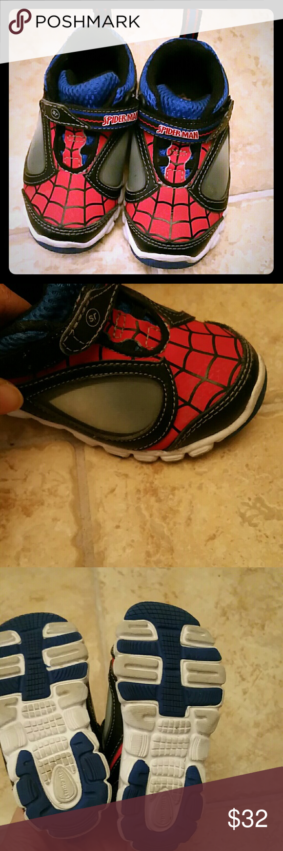e399ef8cbaa Stride rite light up spiderman sneakers Size 6. Worn 3 times before they  became too small for growing toddler feet. In excellent condition.