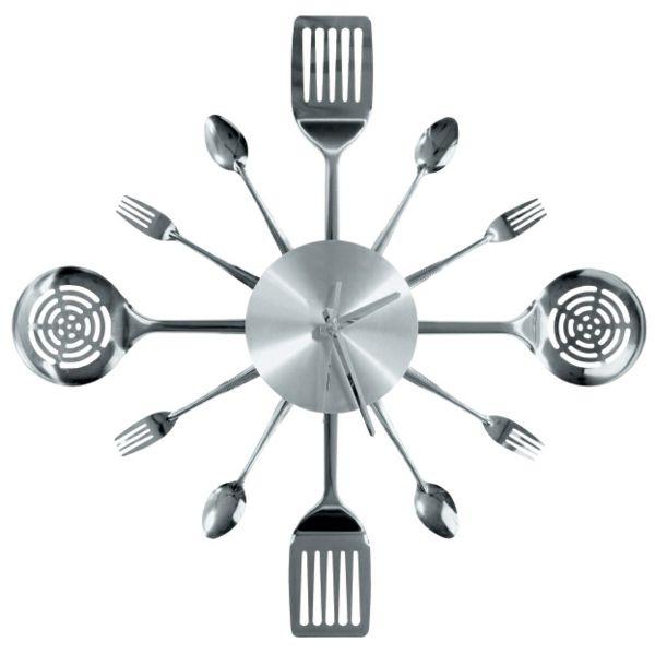 küchenuhren modern wanduhren wanddeko löffel gabel edelstahl Küche - küchen wanduhren design