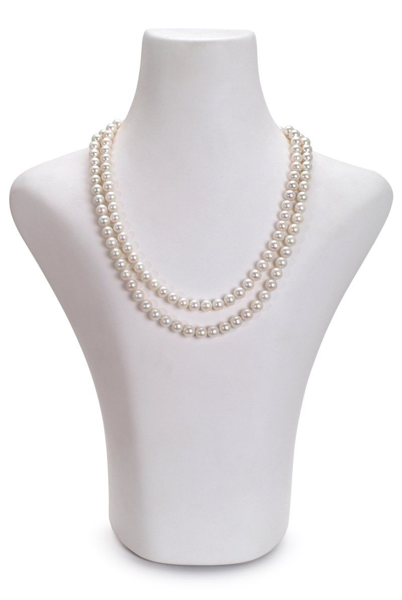 98598b7c681f1 7.5-8.5mm AA Quality Freshwater Cultured Pearl Necklace in White ...