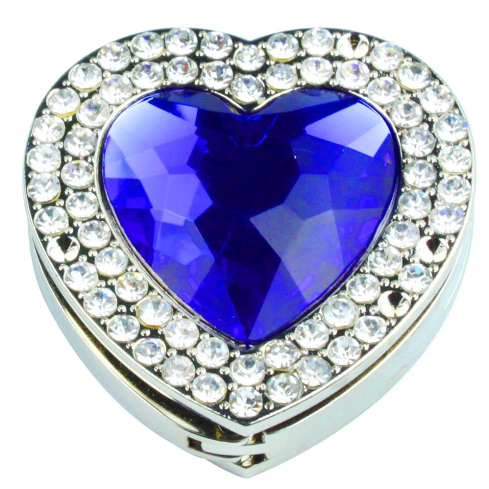 Folding Bling Crystal Sapphire Heart Shaped Handbag Purse Hook Hanger (Blue)(China (Mainland))