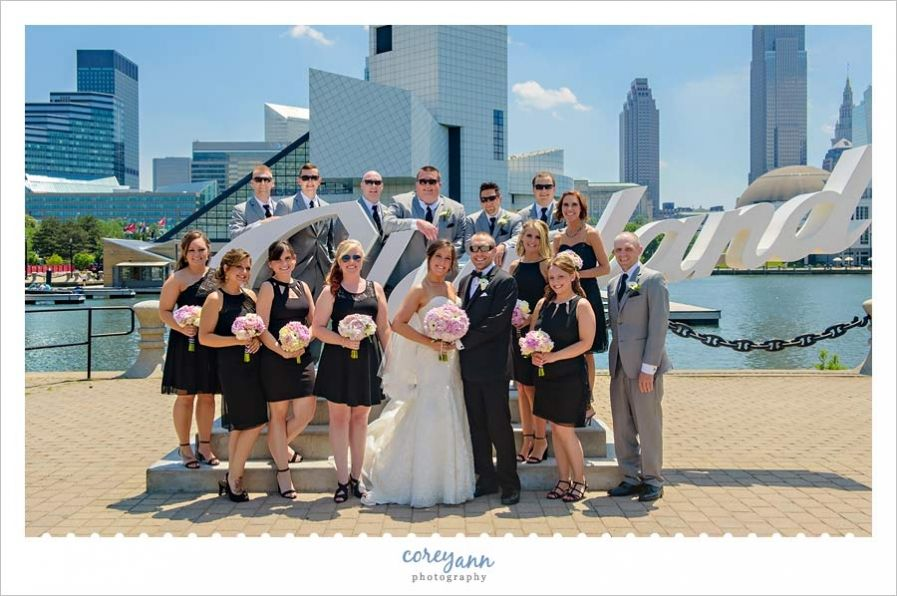 Bridal Party at Cleveland script sign at