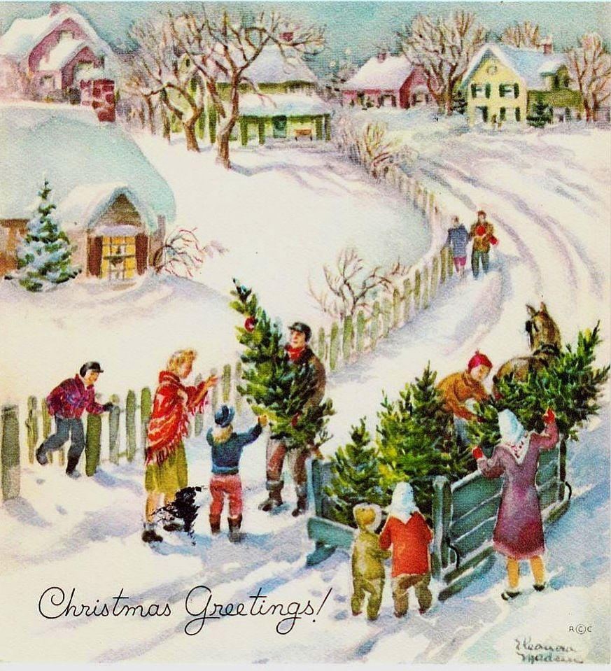Vintage Eleanora Madsen Delivering of Trees Christmas Greeting ...
