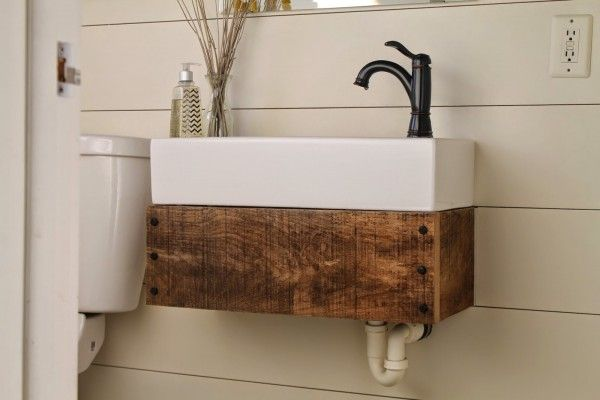 Reclaimed wood floating vanity wood vanity sinks and for Recycled bathroom sinks