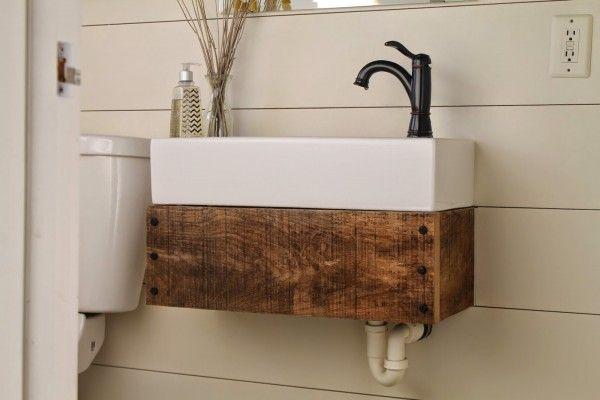 Remodelaholic Reclaimed Wood Floating Vanity Floating Bathroom Vanities Small Bathroom Sinks Farmhouse Bathroom Sink
