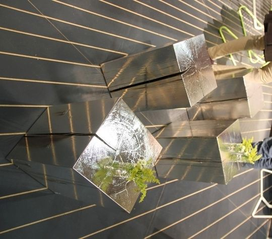 Silver squared tree stumps.  Potential DIY with silver spray paint