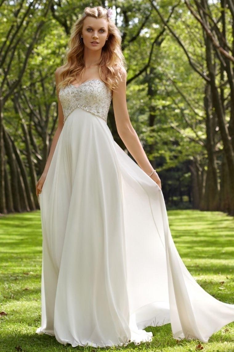 Chiffon wedding dress empire waist   Wedding Dresses Empire Waist Sweetheart SweepBrush Train