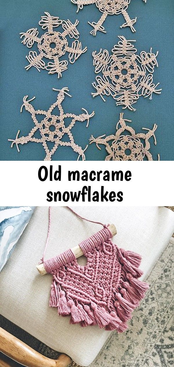 Old macrame snowflakes #hangersnowflake