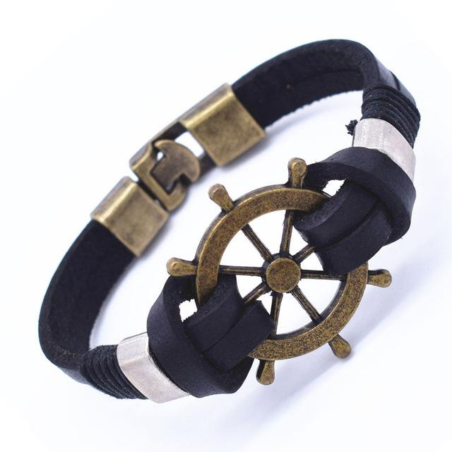 Genuine Leather Anchor Or Sailboat Wheel Bracelet Leather Cow Leather