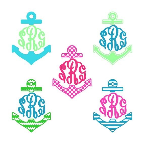 Anchor Beach Monogram Svg Cuttable Design Frame by