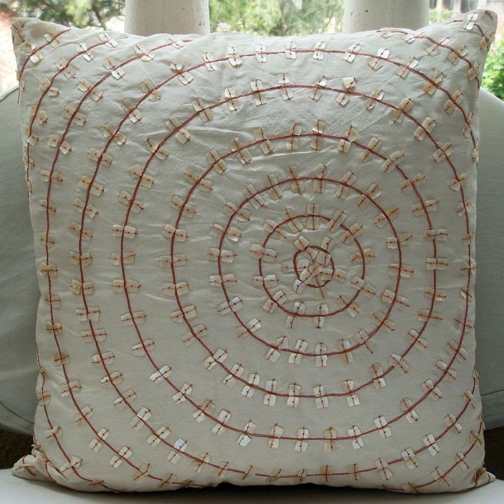 The Wheel Of Pearls - 16 Inch Square pillow Cover in Ivory Silk Dupion with Copper Embroidery and Mother Of Pearl () by TheHomeCentric