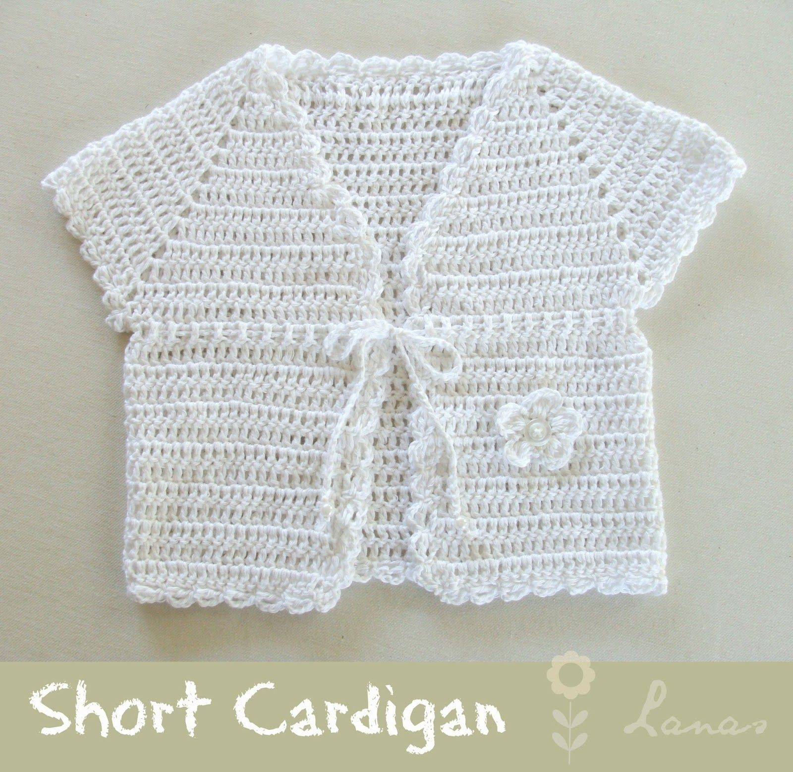 White Short-Sleeved Cardi | baby & kids knits | Pinterest
