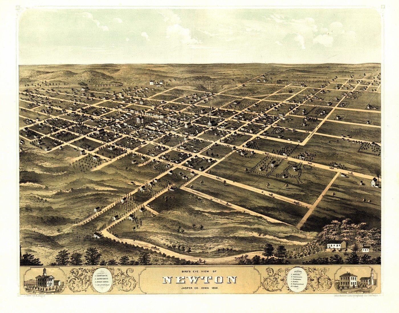 Newton Iowa Old Map Huge Jasper County