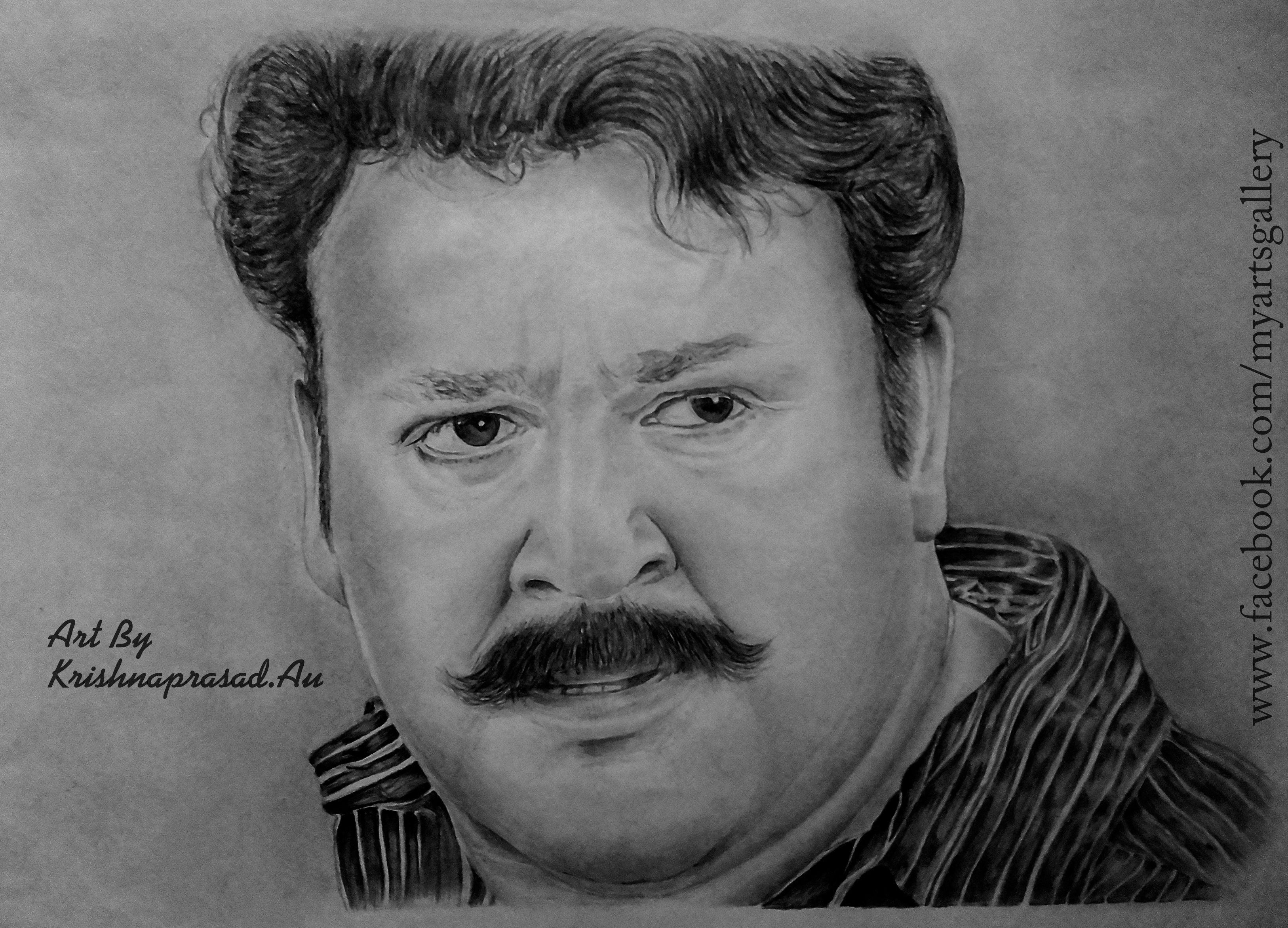 My art work portrait of actor mohanlal www facebook com myartsgallery