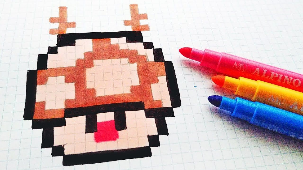 Handmade Pixel Art How To Draw A Rudolph Mushroom