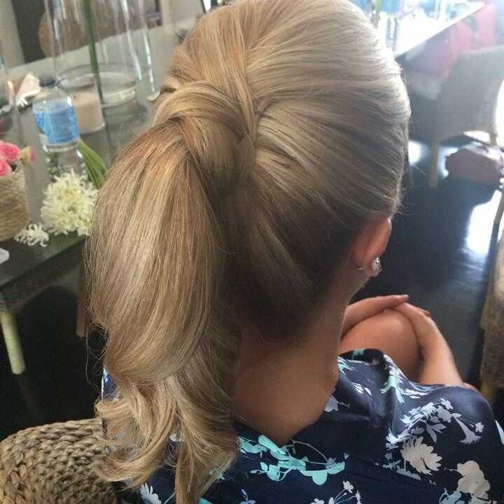 Bridesmaids hairstyle with ponytail by Paula at Powder Room Brisbane