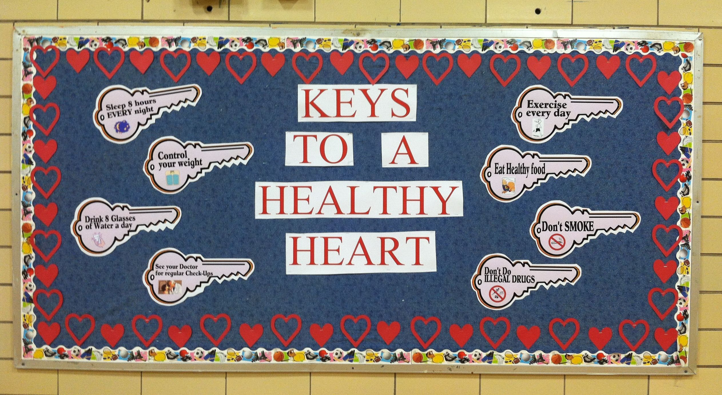 Keys to a Healthy Heart bulletin board. Health bulletin