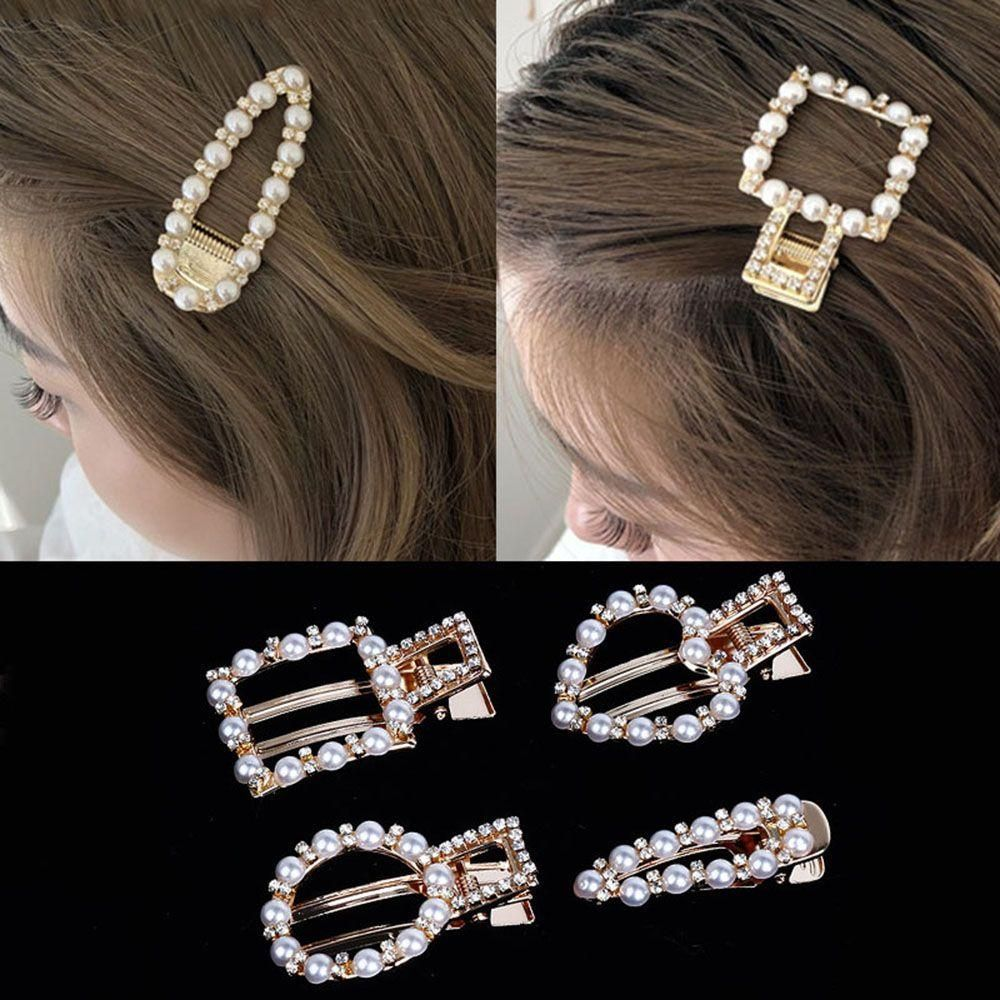 Jewelry Snap Barrettes Stick Hairgrip BB Hairpins Imitation Pearl Hair Clip