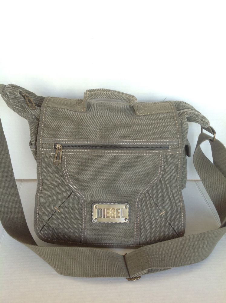 Diesel Messenger Crossbody Bag Unisex Canvas Sage Green Designer Fashion Hip   Diesel  MessengerCrossBody 8a05543c9242a