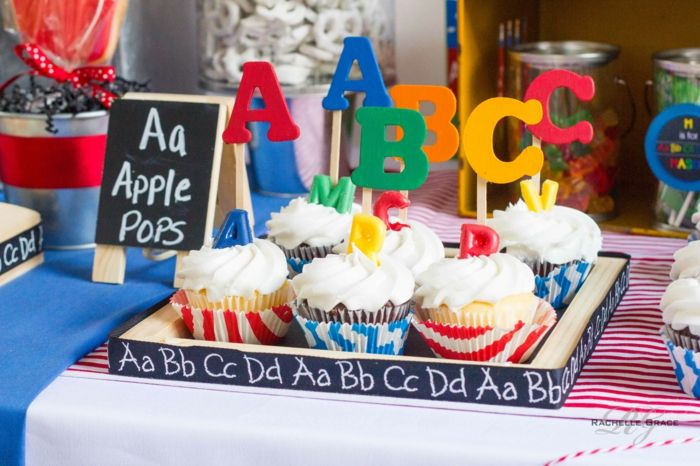 mottoparty ideen abc party idee cupcakes tischdekoration | Karneval ...