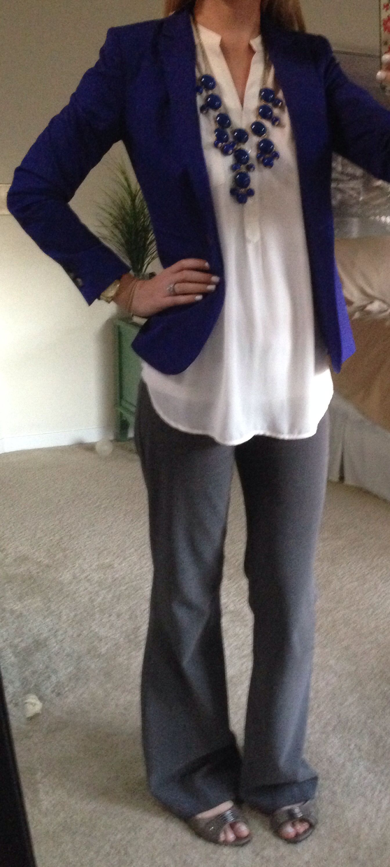 Work Outfit Blue Blazer With White Blouse Grey Pants