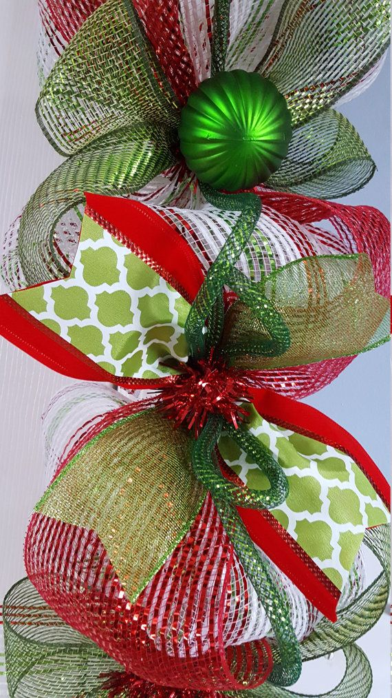 9' Whimsical Christmas deco mesh garland in green apple
