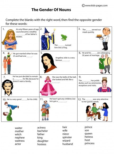 Kids pages nouns gender noun chart worksheet worksheets also the best charts images on pinterest english grammar rh