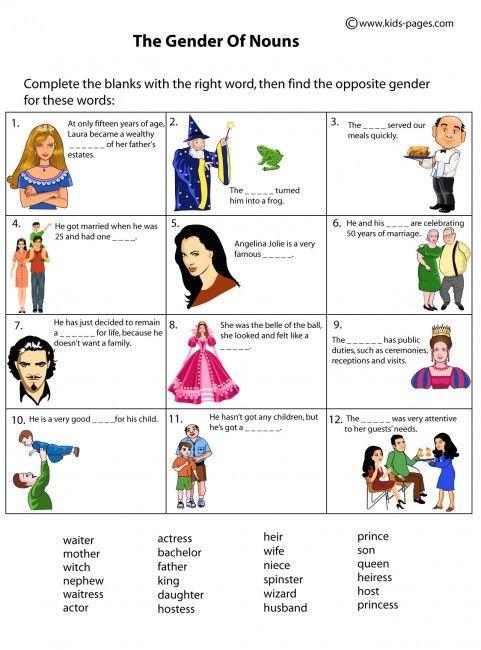 Kids pages nouns gender noun chart worksheet worksheets also best charts images english grammar rh pinterest