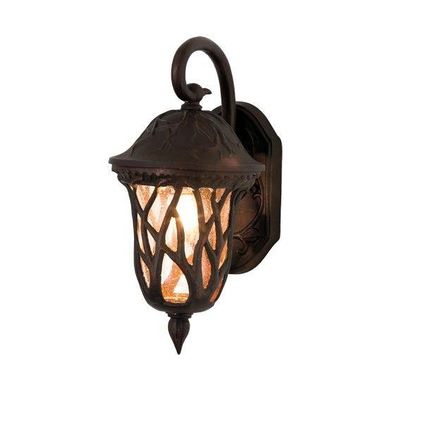 Beacon lighting pixie 1 light medium exterior wall bracket in dark bronze with clear glass