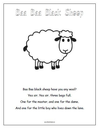 Free Printable Baa Baa Black Sheep Baa Baa Black Sheep Nursery