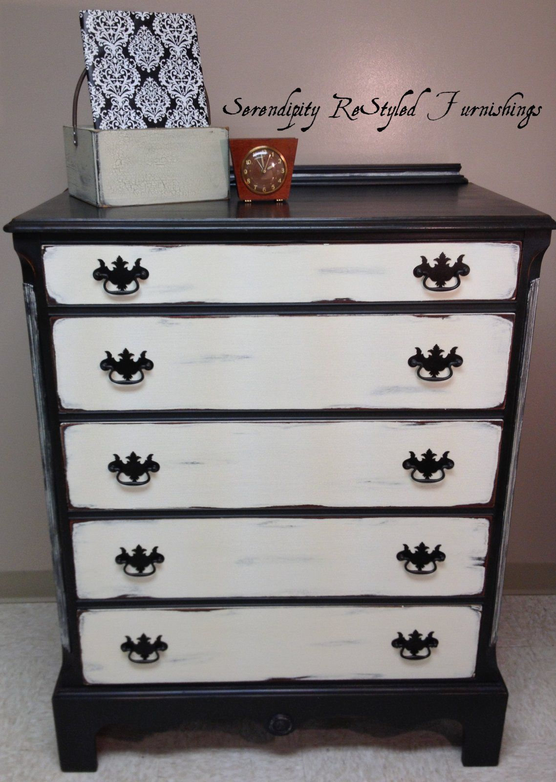 Black And White Dresser Painted With Annie Sloan Chalk Paint, Graphite And  Old White Then