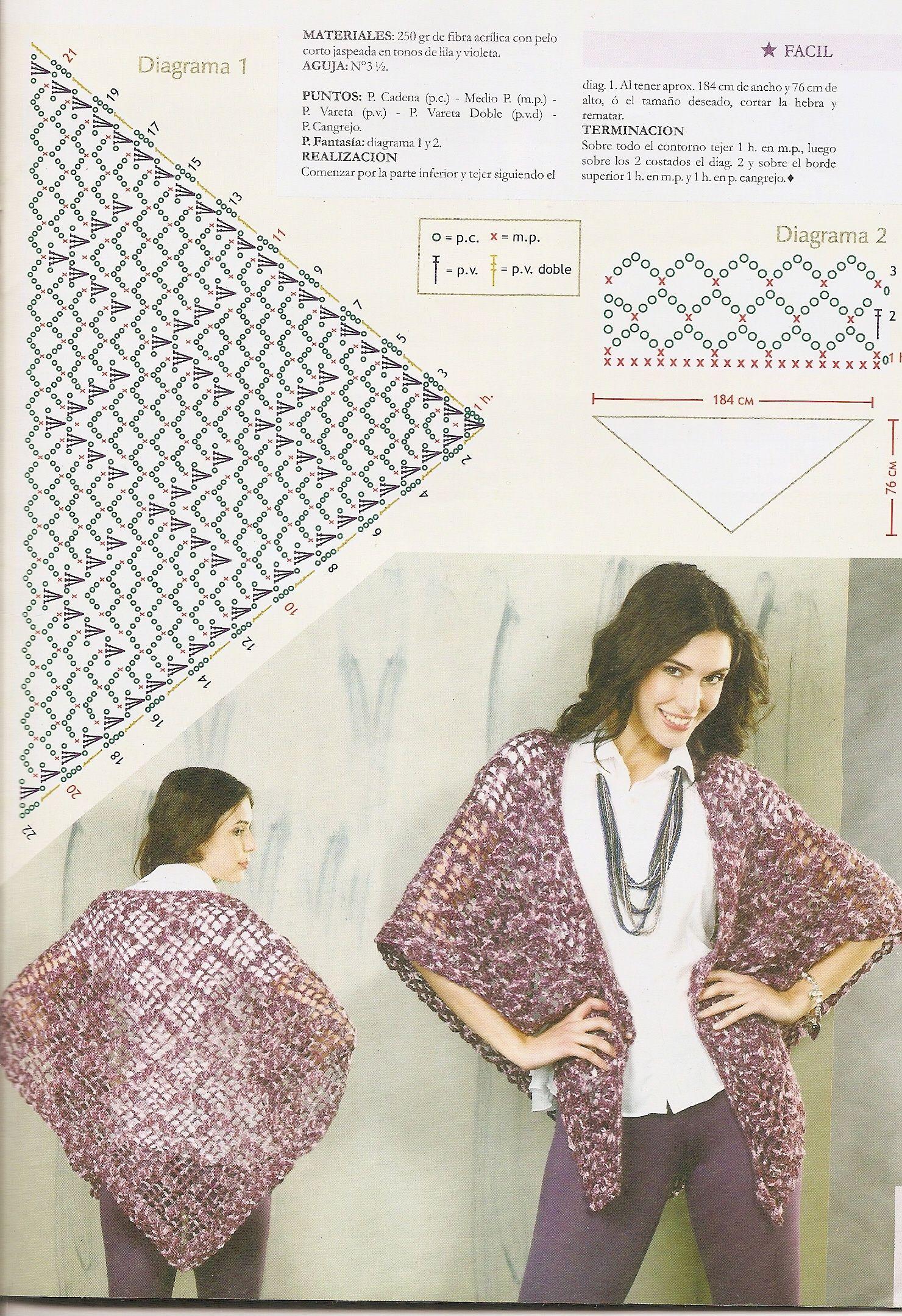 Chal con puntos y medidas. | Chal | Pinterest | Crochet shawl ...