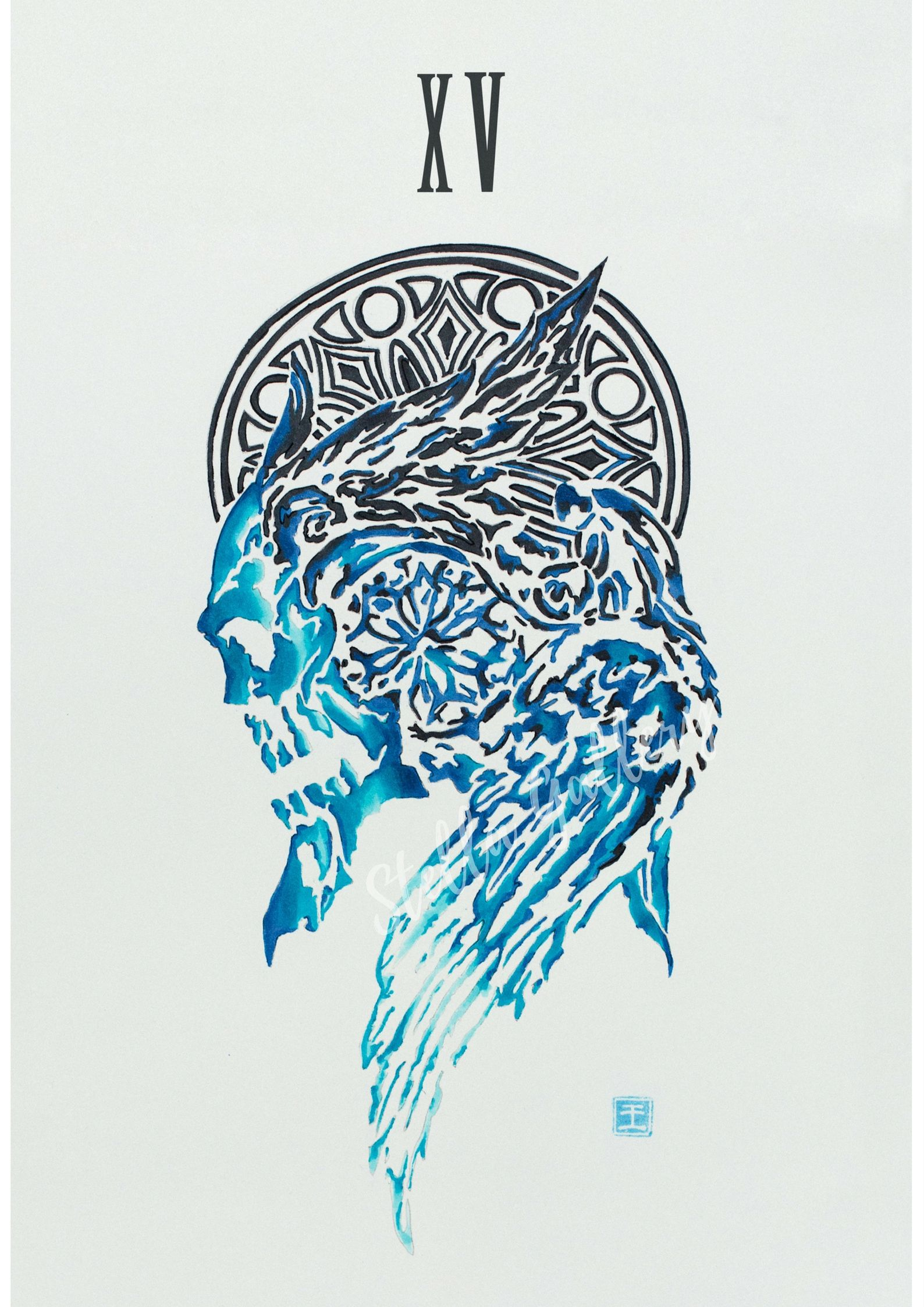 Final Fantasy Xv Ffxv Crest Of Lucis Art Illustration Poster With Markers Final Fantasy Xv Final Fantasy Tattoo Final Fantasy