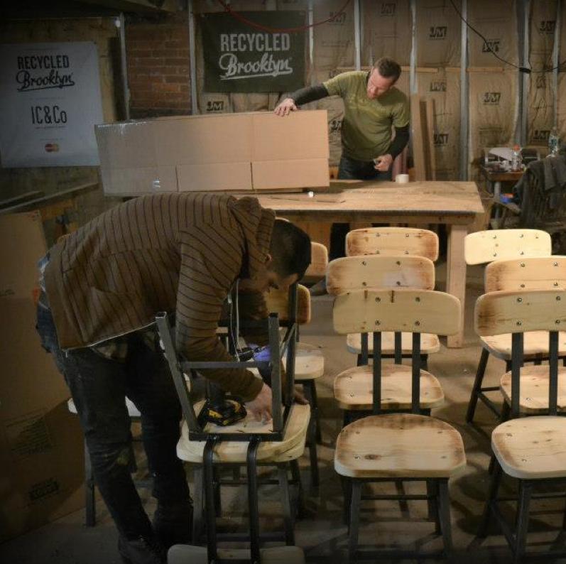 Reclaimed wood and iron chairs. RecycledBrooklyn. http://www.etsy.com/shop/RecycledBrooklyn