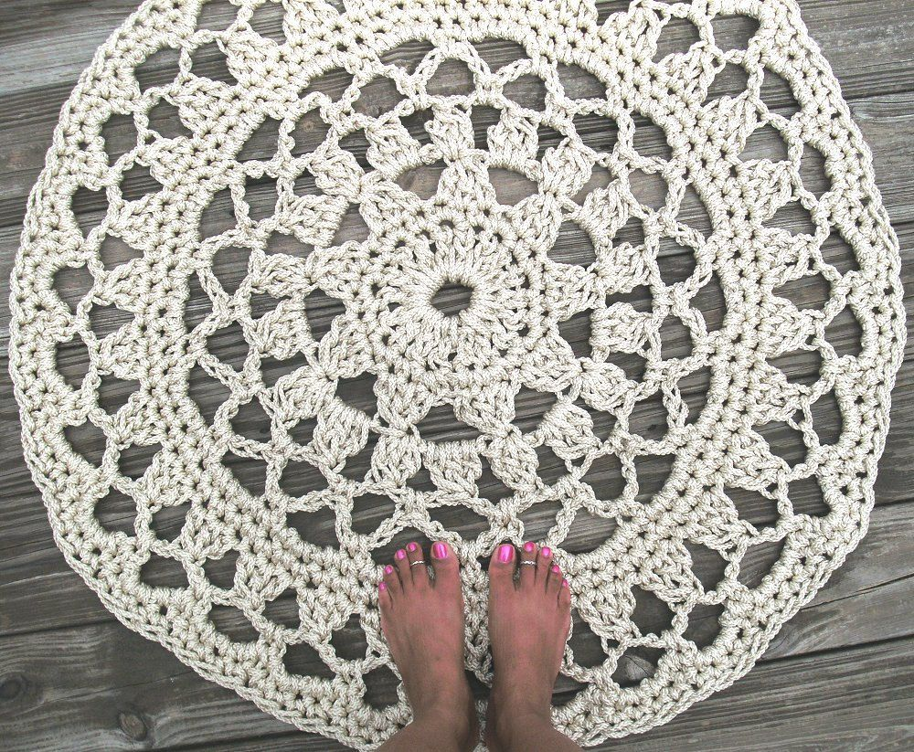 Off White Pearl Patio Porch Cord Crochet Rug, via Etsy. | My Style ...
