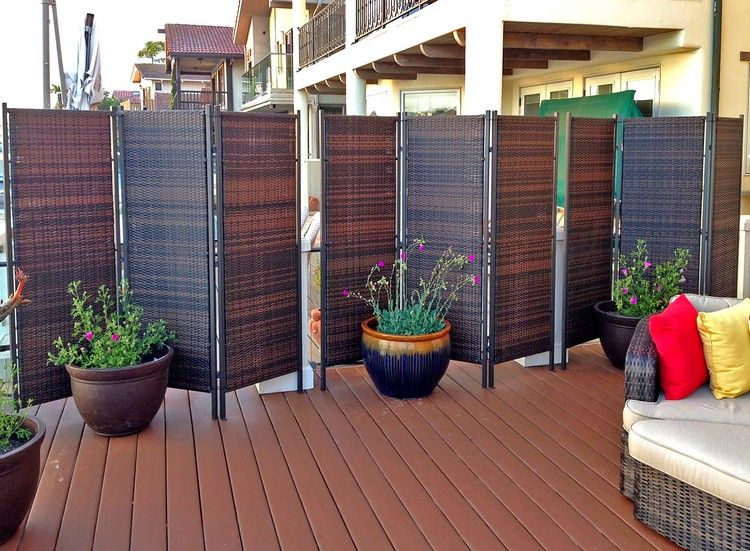 Cool paravent garten dreiteilig rattan patio bereich kompletter sichtschutz