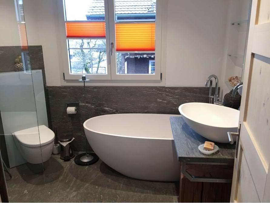 Freistehende Badewanne Piemont Medio aus Mineralguss - Weiss matt