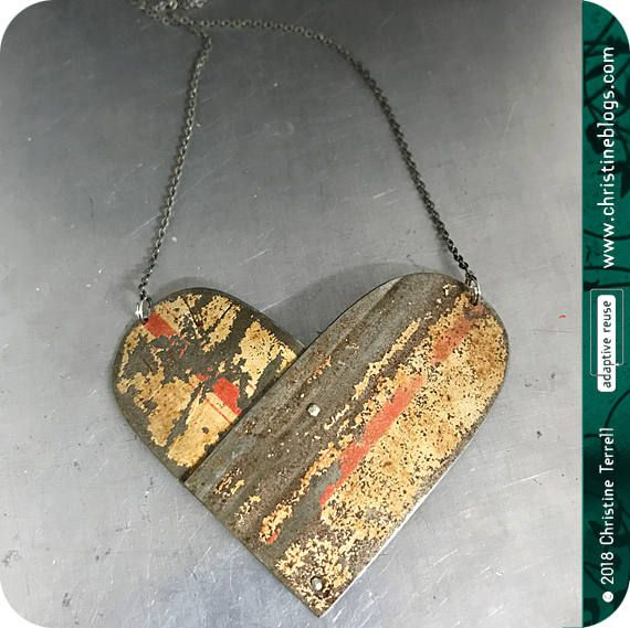 Double Arch Overlap Heart | Vintage Tin Pendant | Ethical Jewelry | Valentines Gift | Wife Gift | Heart | Gift for Her | Recycled | Boho by christineterrell for adaptive reuse on Etsy